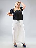 Юбка белая длинная прямая с вышивкой, 52-60 размеры