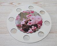 """Деревянная подставка для паски и яиц """"Цветы"""". Пасхальные сувениры"""