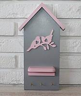 """Ключница настенная деревянная """"Домик с птичками"""". Подарки в стиле прованс"""