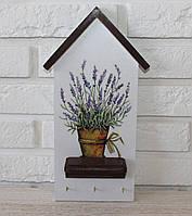 """Ключница настенная деревянная """"Лавандовый домик"""". Подарки в стиле прованс"""