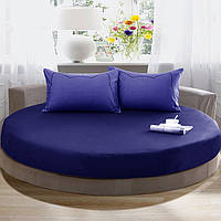Простынь на Круглую кровать Модель 2 Синяя