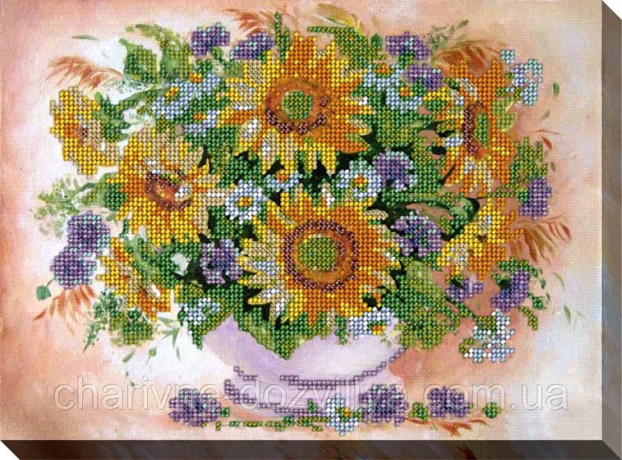 """Набор для вышивки бисером на хлопковом холсте букет """"Подсолнухи с цветами"""""""