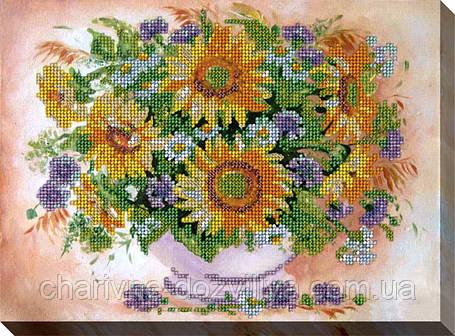 """Набор для вышивки бисером на хлопковом холсте букет """"Подсолнухи с цветами"""", фото 2"""