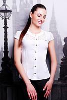 Женская блузка белого цвета с коротким рукавом
