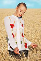Белая шифоновая блузка с ярким принтом на полочке