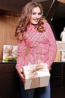 Женская трикотажная красная блуза в белую клетку
