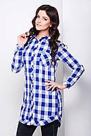 Удлиненная женская фланелевая рубашка синего цвета