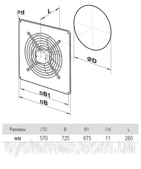 Размеры (параметры) вентилятора ВЕНТС ОВ 4Е 550
