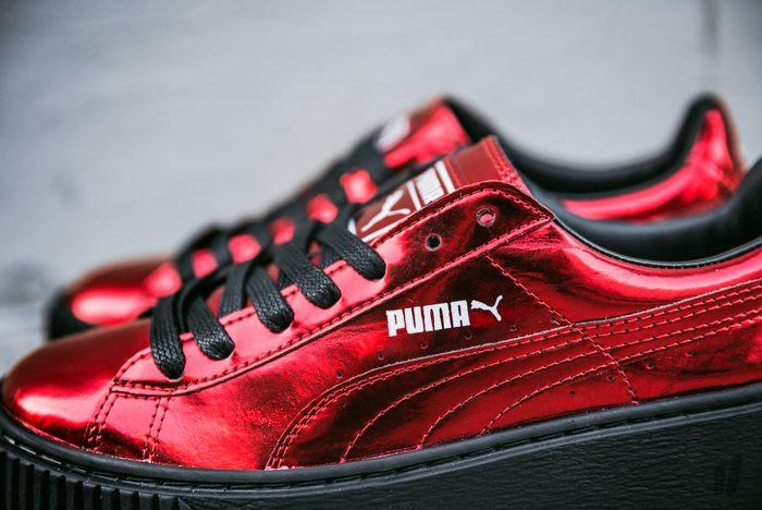 e080ee25622273 ... интернет Кроссовки женские Puma Basket Platform Metallic Sneakers High  Risk Red. пума баскет платформ
