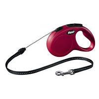 FLEXI NEW CLASSIC Поводок-рулетка для средних собак, 8м (трос), до 20 кг, красный