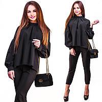 """Хлопковая женская блуза """"Fashion"""" с воротником-стойкой и длинным рукавом (2 цвета)"""