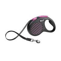 FLEXI DESIGN Поводок-рулетка для средних и крупных собак, 5м (лента), до 50 кг, розовый горошек