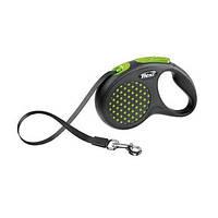 FLEXI DESIGN Поводок-рулетка для небольших собак, 5м (лента), до 15 кг, зеленый горошек
