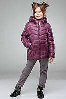 Утепленная стеганная куртка для девочек с капюшоном