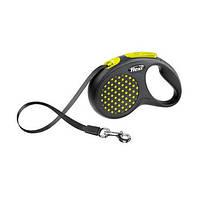 FLEXI DESIGN Поводок-рулетка для небольших собак, 5м (лента), до 15 кг, желтый горошек