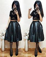 Кожаная юбка черного цвета