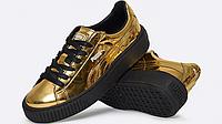 Кроссовки женские Puma Basket Platform Metallic Sneakers with Gold-Black. пума баскет, кроссовки интернет