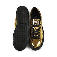 Кроссовки женские Puma Basket Platform Metallic Sneakers with Gold-Black. обувь интернет магазин, пума баскет