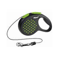 FLEXI DESIGN Поводок-рулетка для небольших собак, котов и хорьков, 5м (трос), до 12 кг, зеленый горошек