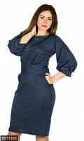 Принтованное женское платье приталенного фасона с карманами рукав три четверти французский трикотаж батал