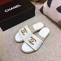 Модные брендовые шлепанцы Chanel 100% кожа