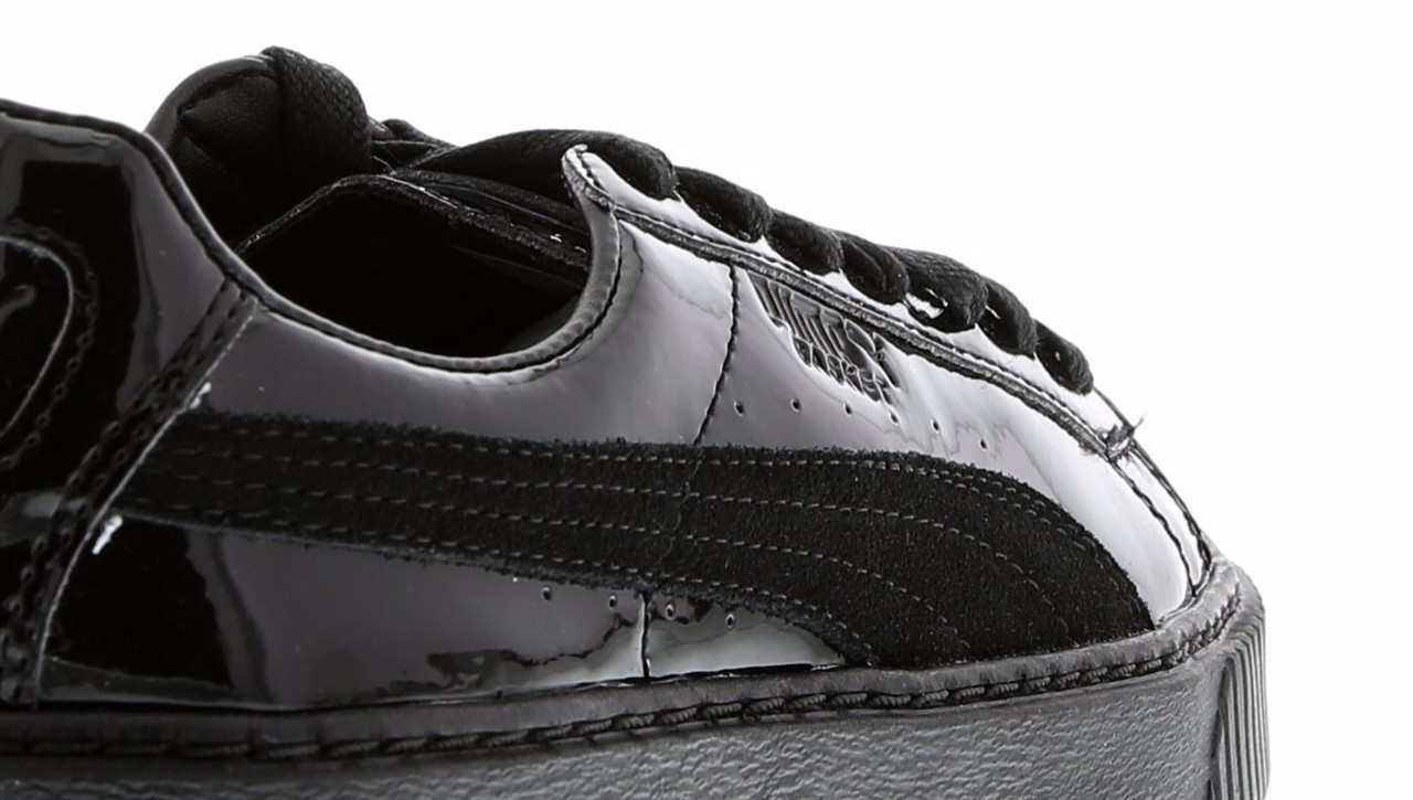 Кроссовки женские Puma Basket Platform Metallic Sneakers black. пума баскет платформ, сайт обувь интернет