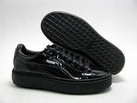 Кроссовки женские Puma Basket Platform Metallic Sneakers black. сайт интернет магазин, пума баскет сникерс