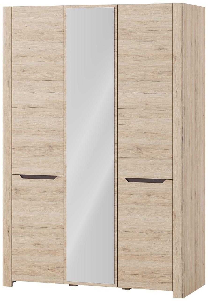 Шкаф трехдверный платяной с зеркалом DESJO 06 Szynaka дуб san remo - коричневый uni