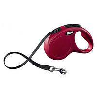 FLEXI NEW CLASSIC Поводок-рулетка для мелких собак, 5м (лента), до 15 кг, красный