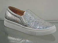 Модные кожаные слипоны серебро, фото 1