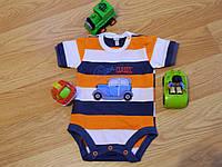 """Боди  для мальчика с коротким рукавом в полосочку с рисунком """"Машина"""", Размер 68"""