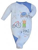 """Комбинезон, человечек для девочки или для мальчика, унисекс с рисунком """"Париж""""  , Размер 74"""