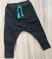 Штаны унисекс с накладной деталью, графит с бирюзой. Размеры: 86, 92 см, фото 1