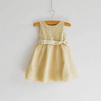 Детские нарядные платья золотисто бежевые