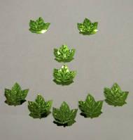 Листик клёна (пайетка) салатовый 23*21 мм для бисерных, проволочных деревьев, уп.10 г (ок.100 шт.)