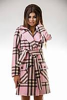 Пальто кашемировое в клетку розовое на поясе S M L