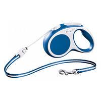 FLEXI VARIO Поводок-рулетка для мелких собак, хорьков и кошек, 3м (трос), до 8 кг, синий