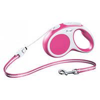 FLEXI VARIO Поводок-рулетка для мелких собак, хорьков и кошек, 3м (трос), до 8 кг, розовый