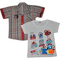 """Практичный комплект (рубашка с футболкой) """"All You Need"""" , для мальчиков от 1-4 лет (4 ед в уп.)"""