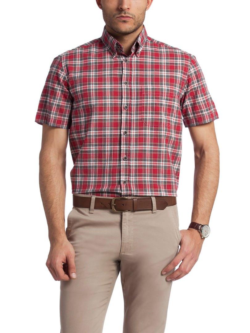 Мужская рубашка LC Waikiki / ЛС Вайкики с коротким рукавом красного цвета в черно-белые полоски