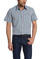 Мужская рубашка LC Waikiki с коротким рукавом белого цвета в сине-голубые полоски