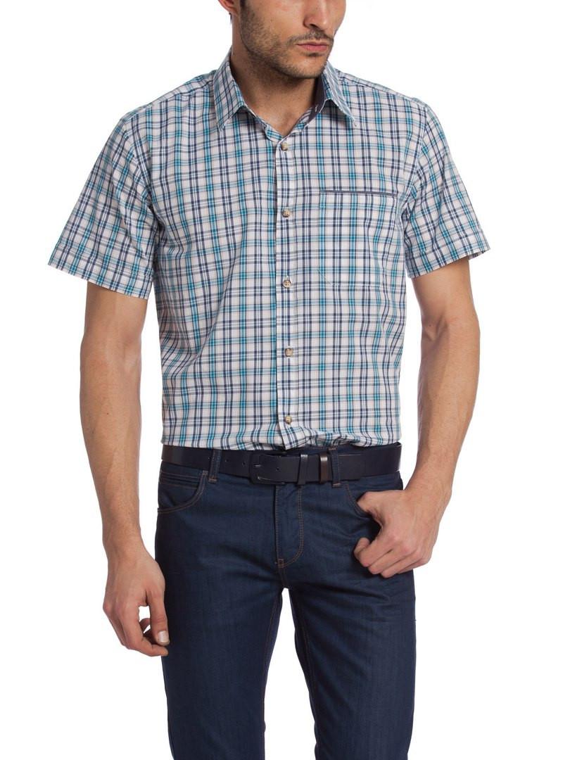 69bdac568c5 Мужская рубашка LC Waikiki с коротким рукавом белого цвета в сине-голубые  полоски - Интернет