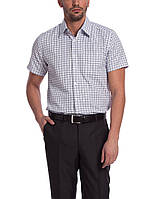 Мужская рубашка LC Waikiki с коротким рукавом белого цвета в темно-синие полоски