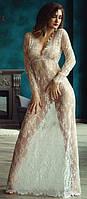 Белое платье в пол для будуарной фотосессии и беременных