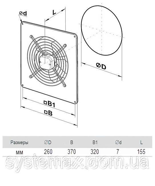 Размеры (параметры) вентилятора ВЕНТС ОВ 4Д 250