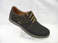 Туфли кожаные черные  Ecco комфорт  40, 41, 42, 43, 44, 45