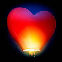 Небесный фонарик сердце с надписью микс 6цв 34*85см