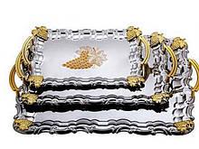 Поднос прямоугольный оцинкованный с ручками золотого цвета виноград набор 1 шт, (СКЛАД-1 шт.)