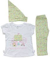 Костюм летний для девочки, белая футболочка, салатовая косыночка и брючки, рост 86 см, ТМ Фламинго