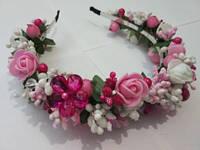 Обруч-венок цветочный в бело-розовых тонах